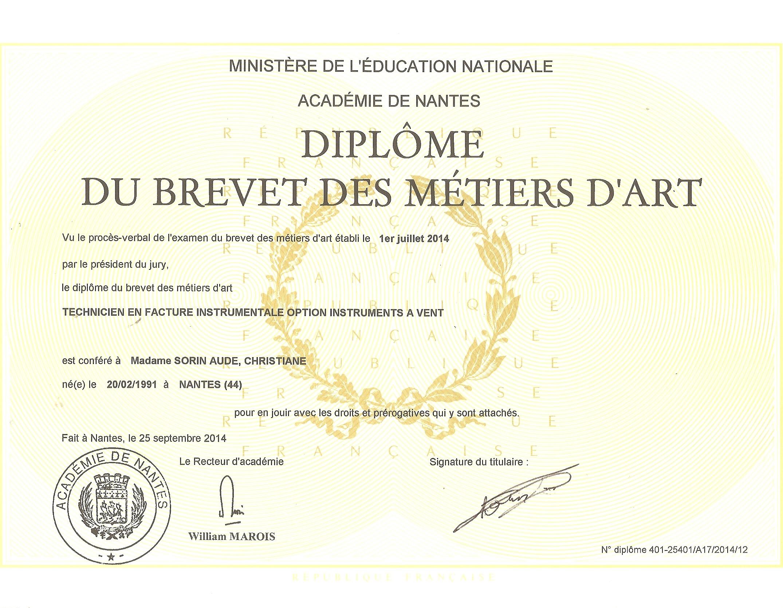 Brevet Métier d'art 24 09 2014